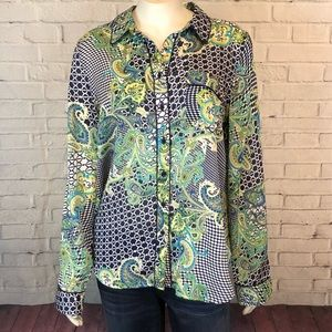 Liz Claiborne Paisley Blouse Top Sheer L Boho Chic